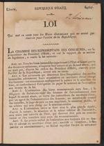 Loi qui met en vente tous les biens domaniaux qui ne seront pas reserves pour l'utilite de la Republique