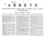Arrete concernant l'organisation du notariat dans la colonie de Saint-Domingue