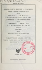 Report to Congress of the Department of Defense in accordance with section 2455, Title 10, U.S.C. of the Defense Cataloging and Standardization Act of 1952