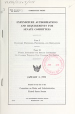 Expenditure authorizations and requirements for Senate committees