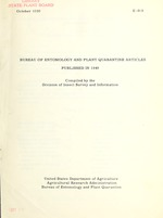 Bureau of Entomology and Plant Quarantine articles published in ...