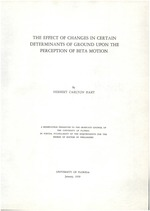 The effect of changes in certain determinants of ground upon the perception of Beta motion