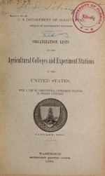 Organization lists of the agricultural colleges and experiment stations in the United States : with a list of agricultural experiment stations in foreign countries