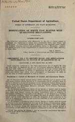 Modification of white pine blister rust quarantine regulations