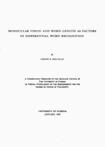 Monocular vision and word-length as factors in differential word recognition ..