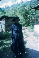 A woman wearing a black mourning dress in Moore Town, Portland, Jamaica
