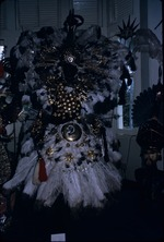 Gold and white feathered carnival costume on exhibit in the National Museum and Art Gallery of Trinidad and Tobago