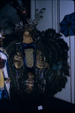 A carnival costume with peacock feathers on exhibit in the National Museum and Art Gallery of Trinidad and Tobago