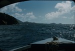 View of coastline and mountains from a boat near Saint John, Virgin Islands
