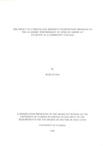 The impact of a precollege minority intervention program on the academic performance of African American Students at a Community College