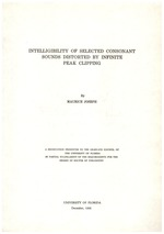 Intelligibility of selected consonant sounds distorted by infinite peak clipping