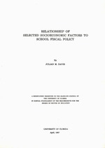 Relationship of selected socioeconomic factors to school fiscal policy