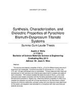 Synthesis, Characterization, and Dielectric Properties of Pyrochlore Bismuth-Dysprosium Titanate Systems