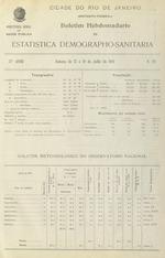 Boletim hebdomadario de estatistica demographo-sanitaria da cidade do Rio de Janeiro