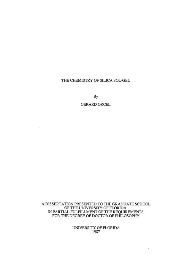 The chemistry of silica sol-gel - Page i