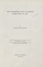 The wandering Jew in English literature to 1850