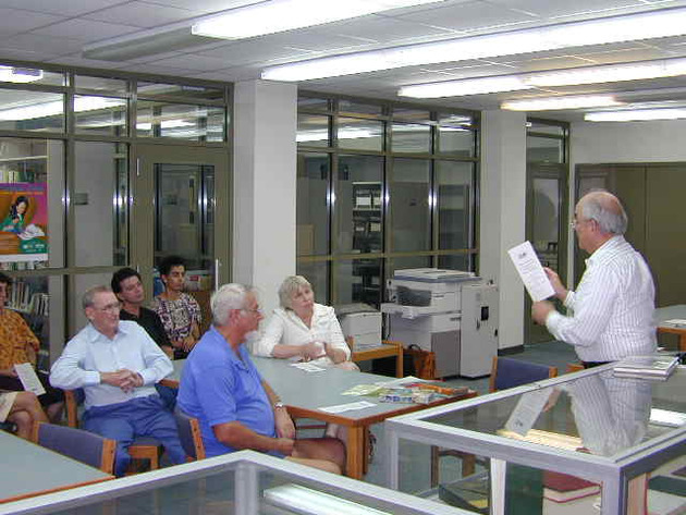 Attorney Wilfredo Geigel...at Florence Williams Public Library...presents a bookbinding workshop...photo by Wallace Williams - DSCN1493.tif