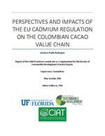 Perspectives and impacts of the EU cadmium regulation on the Colombian cacao value chain
