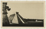 """View of """"El Castillo"""" pyramid from the Temple of the Warriors in Chichen Itza, Mexico"""