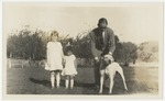 English coffee grower with children and dog in Managua, Nicaragua