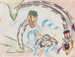 Colored pencil drawing of skeletal rafter at sea being blown by Fidel Castro with razor wire and Uncle Sam