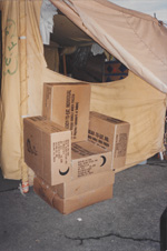 A chair made from MRE cartons at Guantanamo