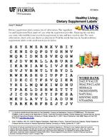 Healthy Living: Dietary Supplement Labels Word Search