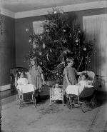 Margaret and Sarah Smith in Front of Christmas Tree