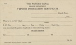 Typhoid Inoculation Identification Certificate, Panama Health Department