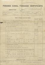 Panama Canal Tonnage Certificate