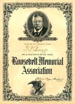 Roosevelt Memorial Association Certificate, F.P. Brugge