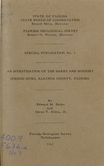 An investigation of the Darby and Hornsby Springs sites, Alachua County, Florida (FGS: Special publication 7)