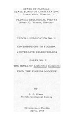 The skull of Leptarctus ancipidens from the Florida miocene (FG: Special publication 2)