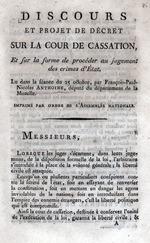 Discours et projet de decret sur la cour de cassation ...