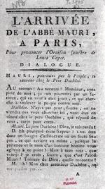 L'arrivee de l'abbe mauri, a Paris