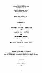 Interim report on surface water resources and quality of waters in Lee County, Florida ( FGS: Information circular 7 )