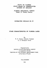 Stage characteristics of Florida lakes ( FGS: Information circular 31 )