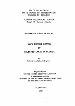 Maps showing depths of selected lakes in Florida ( FGS: Information circular 40 )