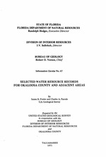 Selected water resource records for Okaloosa County and adjacent areas ( FGS: Information circular 67 )
