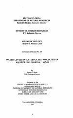 Water levels in artesian and nonartesian aquifers of Florida, 1967-68 ( FGS:Informational circular 68 )
