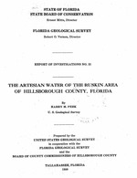 The artesian water of the Ruskin area of Hillsborough County, Florida ( FGS: Report of investigations 21 )
