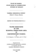 Water resources of the Econfina Creek Basin area in Northwestern Florida ( FGS: Report of investigations 41 )