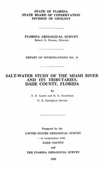 Salt-water study of the Miami River and its tributaries, Dade County, Florida ( FGS: Report of investigations 45 )