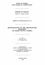 Reconnaissance of the ground-water resources of Baker County, Florida ( FGS: Report of investigations 52 )