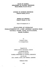 Evaluation of hydraulic characteristics of a deep artesian aquifer from natural water-level fluctuations, Miami, Florida ( FGS: Report of investigations 75 )