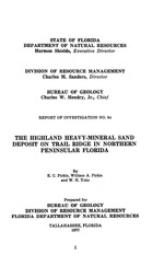 The Highland heavy-mineral sand deposit on Trail Ridge in northern peninsular Florida ( FGS: Report of investigations 84 )