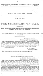 Survey of Tampa Bay, Florida.  Letter from the secretary of war, transmitting, with a letter from the chief of engineers, report of a survey of Tampa Bay, Florida