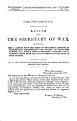 Charlotte Harbor, Fla.  Letter from the secretary of war transmitting, with a letter from the chief of engineers, reports on preliminary examination and survey of Charlotte Harbor, Fla., with a view to securing a channel of increased depth from the Gulf of Mexico to the town of Boca Grande