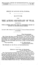 Survey of Anclote River.   Letter from the secretary of war, transmitting, with a letter from the chief of engineers, report of survey of Anclote River, Florida.
