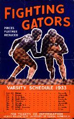 University of Florida Fighting Gators poster listing all of the 1933 Varsity football games. (G-9)